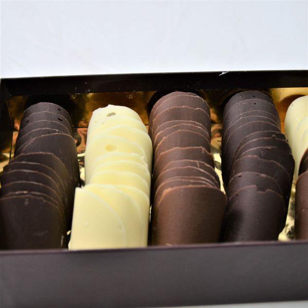 Tuiles en chocolat noir lait et blanc, Noël